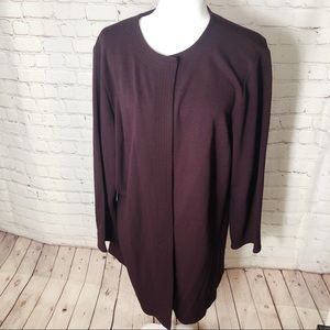 Eileen Fisher Maroon Long Duster Cardigan Plus Sz